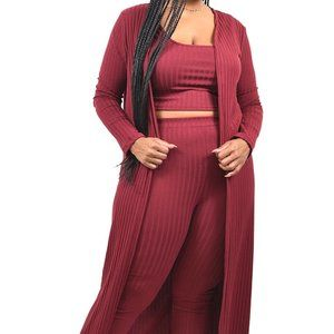 Solid Knitted 3-Piece Legging Set PLUS SIZE
